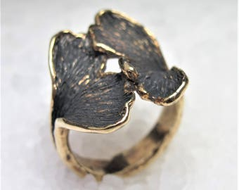 Gingko leaf ring, silver gilt and polished.