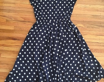 Vintage navy blue polka dot dress