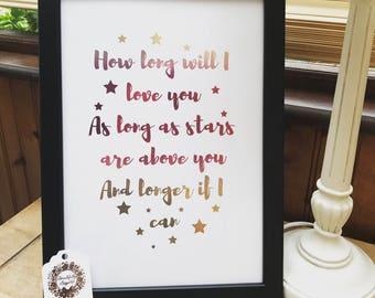 Personalised A4 Foil Print Custom Print Quotes, Song Lyrics, Custom Order, Wall Art, Home Decor, Foil Print, Personalised Print, Bespoke