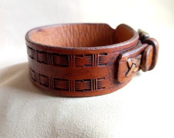 Leather Cuff, Hand Tooled Leather Cuff, Mens Cuff, Leather Bracelet