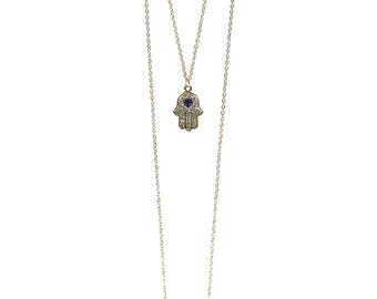 TCFF Women's Gold Two Layered Hamsa Chain Necklace