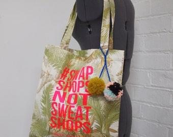 Upcycled Tote Shopper Bag #SwapShopsNotSweatshops