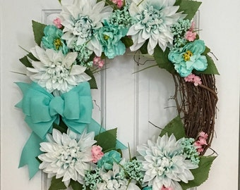Spring Floral Grapevine Wreath, Aqua Wreath, Easter Wreath, Front Door Wreath, Mother's Day Gift