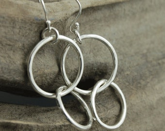 Sterling Silver Double Hammered Hoop Earrings