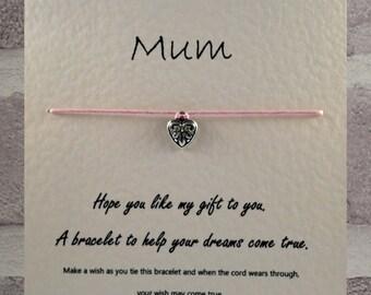 Mum    Tibetan Charm Wish Bracelet & Message Card   Handmade By Erin