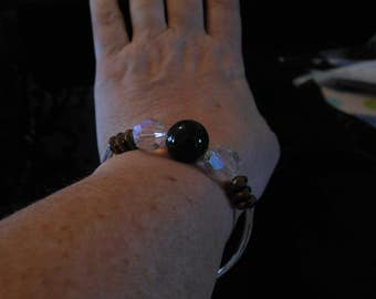 Bracelet Gem Stoes, Silver tubes and hearts, charms