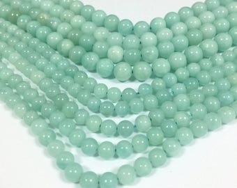Natural Amazonite Beads 6mm 8mm A quality Aqua Gemstones Mint Beads Mala Beads Mala Supplies Light Blue Amazonite Bracelet Necklace Beads