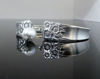 April Spoon Bracelet 1950 (Lt Patina) Sunflower Jewelry Gift