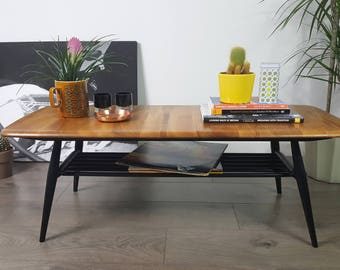 SOLD   Ercol Coffee Table - Black Legs - Industrial Vintage Retro 60s 70s
