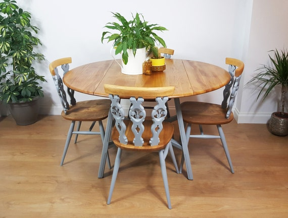 Reserved ercol round dining table and chairs painted for Painted round dining table and chairs