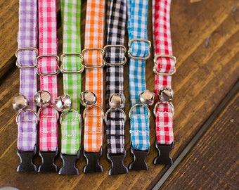 Cat Collar-Breakaway Cat Collar-Plaid Cat Collar-Gingham Cat Collar-Spring Cat Collar-Girl Cat Collar-Boy Cat Collar-Colorful Cat Collar