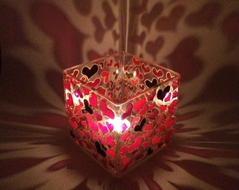 Hand Painted heart tea light holder