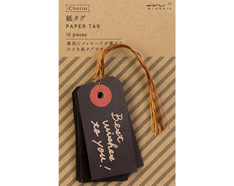 Black paper tags, Message gift tags, Gift labels, Hang gift tags, Party tags with string, Midori Japan