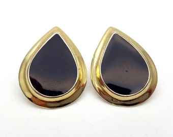 Black Enamel on Gold Tone Metal Teardrop Shaped Stud Earrings Vintage Metal Earrings from the 80s Classic Indie Earrings