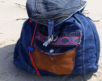 Backpack from jeans and leather parts/rugtas/school bag/boho bag/women bag/school bag