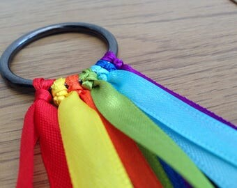 Montessori - Hand Kite - Rainbow Colours - Waldorf Toys - Wood Ring - Rhythm Ribbons - Play Therapy - Wooden Baby Ribbon - Sensory Ribbon