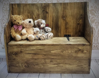 Reclaimed wood Childs Toy Box - Settle - Toy chest - Wooden Toy box - Bench - storage - blanket box - Childs Seat - Rustic Toy box.