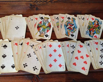 Soviet playing cards Atlasnie / Vintage card deck / Russian card deck / Collectible / Old playing cards / Retro card deck made in USSR