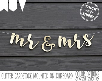 mr & mrs banner, wedding banner, gold glitter party decorations, cursive banner