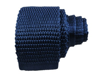 Solid Silk Knit Tie - Navy