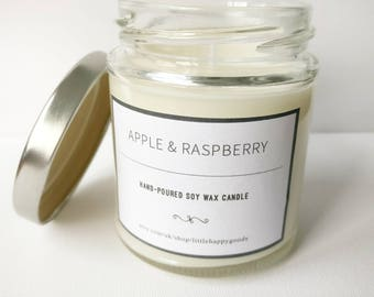 Apple & Raspberry - Handmade, scented soy wax candle