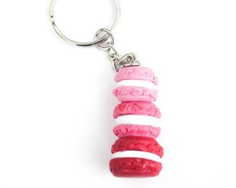 Macaron Tower Miniature Polymer Clay Dessert Food Key Chain