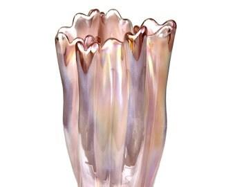 "A Japanese KURATA Ribbon or HANDKERCHIEF Art Glass Vase done w/ the similarly Italian Lattimo Technique (Milk Glass) as a Flower Vase, 9"""