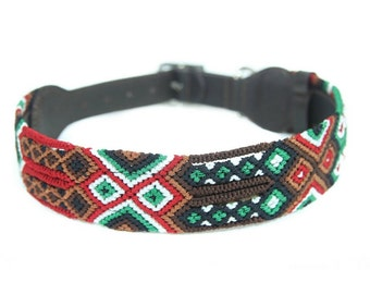 Brick Dog Collar - Red/Brown/Green