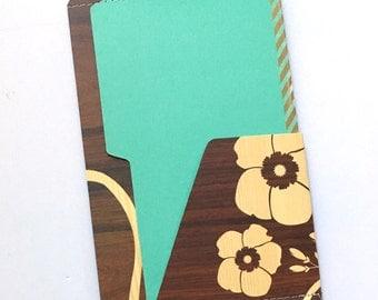 TN 6 Pocket Folder Turquoise Woodgrain 8x5
