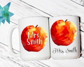 Teacher Apple with Name - Coffee Mug