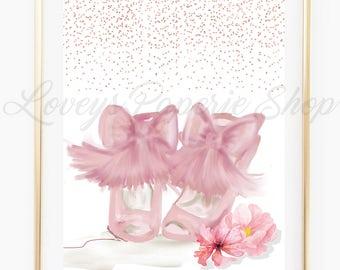DIGITAL FASHION ILLUSTRATION-Pink Peony Flirty Shoes Fashion Print for the Home Girl Boss Watercolor