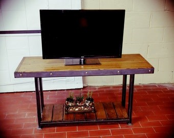 Industrial Entertainment Center, Tv Stand, Wood Table, Living Room, Table Part 81