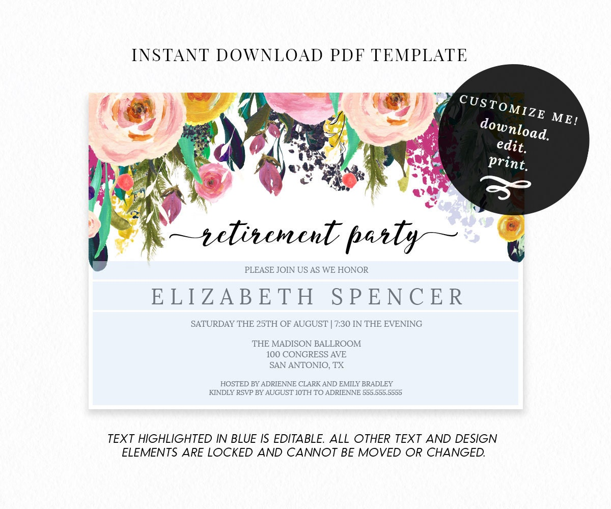 retirement announcement flyer template - editable floral retirement party invitation template