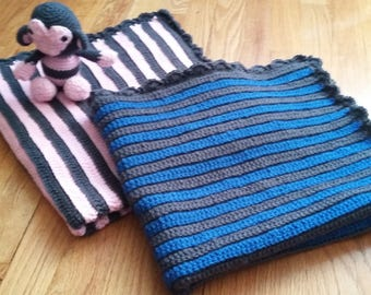 Striped Ridge baby blanket in charcoal and blue suede