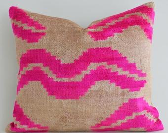 Handwoven Silk ikat pillow, pink velvet pillow, throw pillow, velvet ikat pillow, neon pink pillow, pink cushion, ikat throw pillows