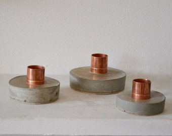 Copper candle holder, candle concrete, Candlestick holder, Candle stand, Housewarming gift, Industrial decor, Copper industrial, Modern gift