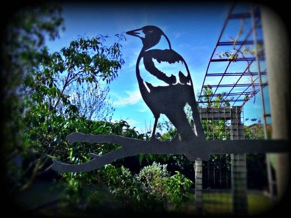 Magpie garden art wall hanging outdoor decoration metal bird