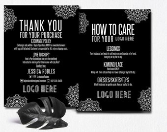 Thank You Care Card Boho, Post Card, Exchange Policy, Modern Colors and fonts Enclosure Card PRINTABLE Digital file ,