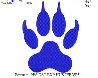 Panther Paw embroidery,Paw print embroidery machine,embroidery pattern . embroidery designs No 485