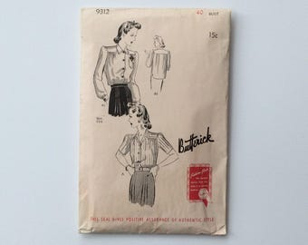 B40 1940s Blouse with Tulip Pocket Sewing Pattern : Butterick 9312