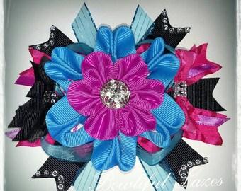 Black, Electric Blue, Hot Pink and Magenta Stack pinwheel hair bow