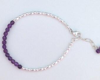 Faceted Amethyst Sterling Silver Bracelet  February Birthstone,  6th Anniversary Gemstone