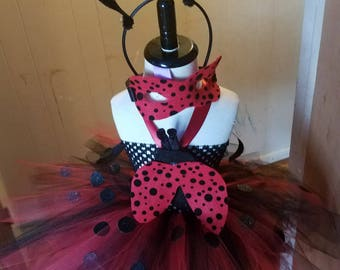 Lady bug tutu with mask and choice of anntenna headband or bow- costume dress for plays pagaents halloween or party.