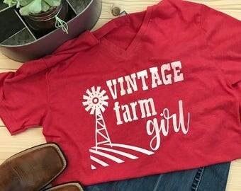 Vintage Farm Girl T-Shirt - Tee Shirt