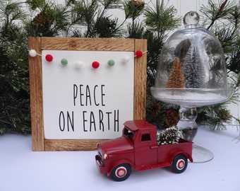 Peace on Earth l Wood Sign | Felted Wool Ball Garland