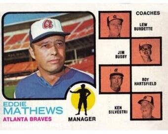 VINTAGE 1973 Topps #237a - Eddie Mathews MG