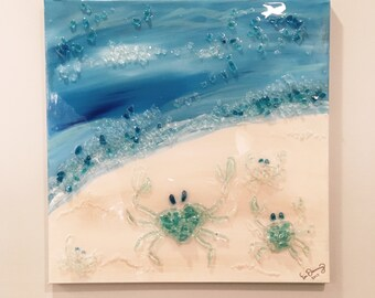 Glass Art on Canvas | Crabs on the Beach