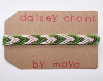 Leaves Friendship Bracelet, Green White Brown Bracelet, Woven Bracelet, Fall Bracelet, Leaf Bracelet, Cotton Bracelet, Custom Bracelet