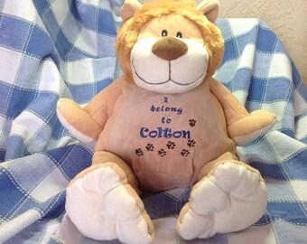 Personalized stuffed animal, stuffed lion, stuffed animal,  embroidery stuffed animals, names on stuffed animals