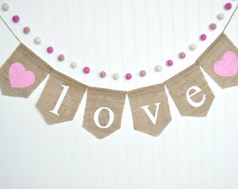 Love burlap banner, Love sign, Pink and White Felt Ball Garland, Wedding Burlap Banner, Wedding Sign, Heart Wall Hanging, Love Garland
